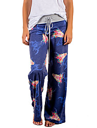 cheap -Women's Active / Boho Loose / Wide Leg / Sweatpants Pants - Floral Floral / Spring / Fall / Going out / Floral Patterns