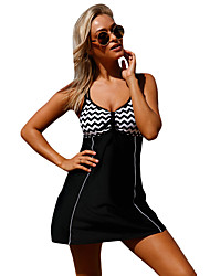 cheap -Women's Striped High Rise Tankini Swimwear Black