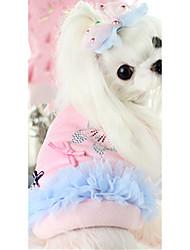 Cachorro Colete Roupas para Cães Quente Casual Laço Azul Rosa claro Ocasiões Especiais Para animais de estimação