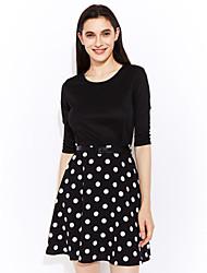 Damen Swing Kleid-Ausgehen Lässig/Alltäglich Retro Einfach Punkt Rundhalsausschnitt Übers Knie ½ Länge Ärmel Schwarz Kunstseide NylonAlle