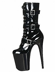 cheap -Women's Shoes PU Winter Fashion Boots Boots Stiletto Heel Round Toe Buckle Zipper Lace-up for Party & Evening Black Clear