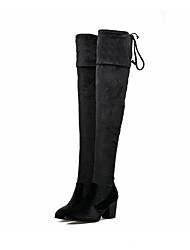 Women's Shoes Nubuck leather Fall Winter Comfort Novelty Fashion Boots Heels Chunky Heel Pointed Toe Over The Knee Boots For Wedding
