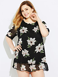 cheap -Women's Daily Casual Blouse,Solid Floral Round Neck Short Sleeves Silk