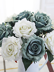 cheap -5 Branch Silk Polyester Roses Tabletop Flower Artificial Flowers