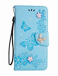 cheap -Case For Samsung Galaxy S8 Plus S8 Card Holder Wallet Rhinestone with Stand Flip Magnetic Embossed Full Body Cases Butterfly Hard PU