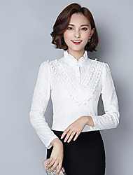 cheap -Women's Daily Casual Blouse,Solid Shirt Collar Long Sleeves Others