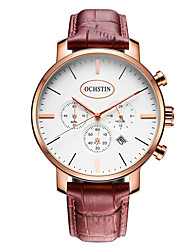 OCHSTIN Men's Fashion Casual Unique Luxury Genuine Leather Calendar Quartz Watches Clock Relogio Masculino Hodinky Hour Handmade Watch