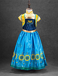economico -Da principessa Anna Da ragazza Halloween Carnevale Giornata universale dell'infanzia Feste / vacanze Costumi Halloween Giallo + blu
