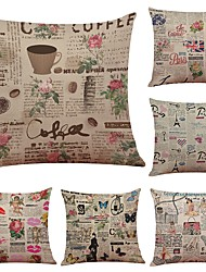 Set of 6 Retro Style Floral Linen Cushion Cover Home Office Sofa Square Pillow Case Decorative Cushion Covers Pillowcases Without Insert(18*18Inch)