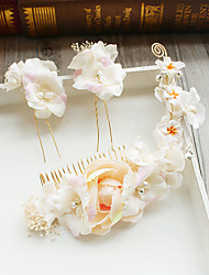 cheap -Tulle Chiffon Imitation Pearl Lace Fabric Silk Net Hair Combs Flowers Hair Clip Headpiece