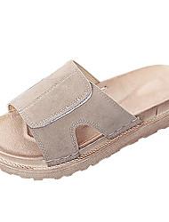 Women's Slippers & Flip-Flops Comfort Summer Suede Walking Shoes Casual Flat Heel Black Khaki 2in-2 3/4in