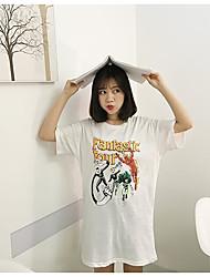Tee Shirt Robe Femme Décontracté / Quotidien Lettre Col Arrondi Au dessus du genou Manches Courtes Coton Eté Taille Normale