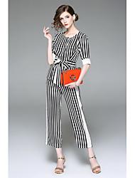 abordables -Mujer Camiseta - A Rayas Pantalón