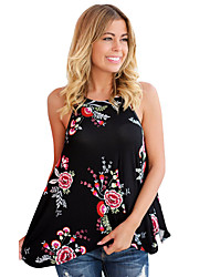 Women's Holiday Going out Casual/Daily Simple Summer Tank Top,Print Round Neck Sleeveless Polyester Spandex Medium