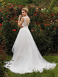 A-Line Princess Plunging Neckline Chapel Train Lace Tulle Wedding Dress with Sequins by LAN TING BRIDE®