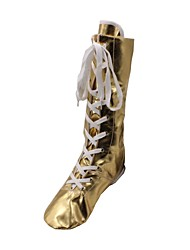 cheap -Women's Dance Boots PU Leather Boots Flat Heel Customizable Dance Shoes Gold / Silver