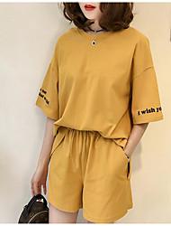 レディース カジュアル/普段着 夏 Tシャツ(21) パンツ スーツ,シンプル ラウンドネック ソリッド 半袖