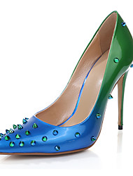 cheap -Women's Shoes Patent Leather Summer Fall Heels Walking Shoes Stiletto Heel Pointed Toe Rivet for Green Blue