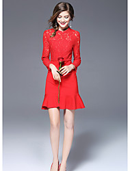 FRMZ   Women's Going out Cute Sheath DressSolid Stand Above Knee Long Sleeves Polyester Fall Mid Rise Micro-elastic Medium