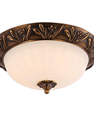 Flush Mount Brass 2 Light Country Artistic Antique