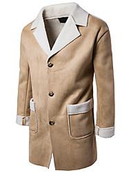 Masculino Casaco Longo Para Noite Casual Simples Vintage Moda de Rua Outono Inverno,Sólido Longo Cashmere Outros Pêlo de Cordeiro Lapela