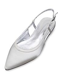 abordables -Femme Chaussures Satin Printemps Eté Confort Ballerine D'Orsay & Deux Pièces Chaussures de mariage Talon Plat Bout pointu Ruban pour