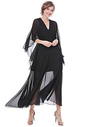 abordables -Gaine Balançoire Robe Femme Sortie Chic de Rue,Couleur Pleine Col en V Maxi Manches 3/4 Polyester Automne Taille Haute Micro-élastique
