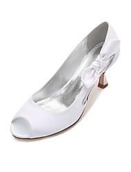 cheap -Women's Shoes Satin Spring / Summer Basic Pump / Comfort Wedding Shoes Kitten Heel / Low Heel / Stiletto Heel Peep Toe Bowknot / Satin