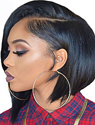 cheap -Yaki Straight Short Bob Wig For Women L Part Italian Yaki Heat Resistant Glueless Synthetic Lace Front Wigs