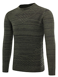 cheap -Men's Daily Sports Going out Casual Cut Out Solid Round Neck Pullover, Long Sleeves Winter Fall Wool