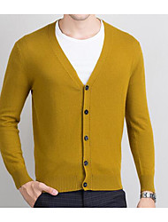 Men's Casual/Daily Simple Regular Cardigan,Solid V Neck Long Sleeves Wool Spring Thick Stretchy