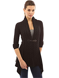 Women's Casual/Daily Regular Cardigan,Solid V Neck Long Sleeve Cotton Fall Medium Micro-elastic