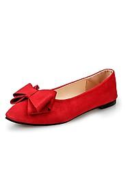 preiswerte -Damen Schuhe Kaschmir Sommer Komfort Flache Schuhe Walking Flacher Absatz Spitze Zehe Schleife für Schwarz Rot