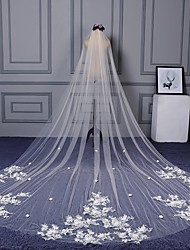 cheap -One-tier Cut Edge Lace Applique Edge Wedding Veil Cathedral Veils With Applique Scattered Bead Floral Motif Style Lace Tulle