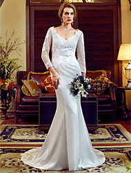 cheap -Mermaid / Trumpet V-neck Court Train Lace Stretch Satin Wedding Dress with Appliques Buttons by LAN TING BRIDE®