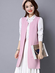 Women's Casual/Daily Simple Fall Vest,Solid Round Neck Sleeveless Long Polyester
