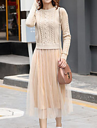 Women's Going out Casual/Daily Simple Cute A Line Sheath Dress,Solid Round Neck Midi Long Sleeves Cotton Acrylic Polyester Spring Fall