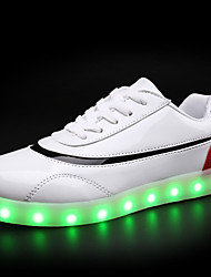 Недорогие -Жен. Обувь Полиуретан Весна Осень Удобная обувь Кеды На плоской подошве Круглый носок Шнуровка LED для Повседневные Белый Черный