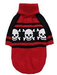 cheap -Cat Dog Coat Sweater Dog Clothes Party Casual/Daily Cosplay Keep Warm Wedding Halloween Christmas New Year's Skulls Red