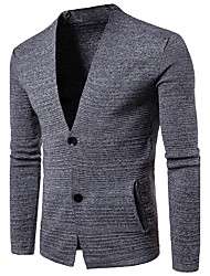 cheap -Men's Daily Going out Casual Regular Cardigan,Solid V Neck Long Sleeves Cotton Fall Medium Micro-elastic