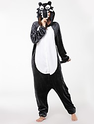 cheap -Adults' Kigurumi Pajamas Wolf Onesie Pajamas Costume Flannel Fabric Gray Cosplay For Animal Sleepwear Cartoon Halloween Festival / Holiday / Christmas