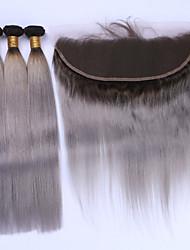 Недорогие -Бразильские волосы Прямой Волосы Уток с закрытием Ткет человеческих волос Черный / серый Расширения человеческих волос