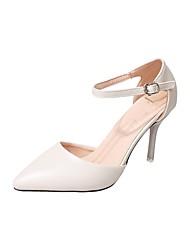 cheap -Women's Shoes PU Summer Basic Pump Heels Stiletto Heel Pointed Toe for Dress Black Beige Light Green Burgundy