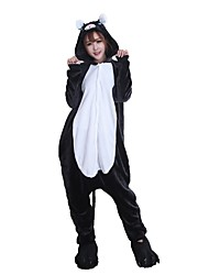 cheap -Adults' Kigurumi Pajamas with Slippers Cat Onesie Pajamas Costume Flannel Fabric Black Cosplay For Animal Sleepwear Cartoon Halloween Festival / Holiday / Christmas