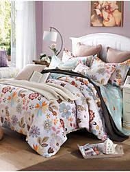 cheap -Floral 4 Piece Cotton Print Cotton 4pcs (1 Duvet Cover, 1 Flat Sheet, 2 Shams)