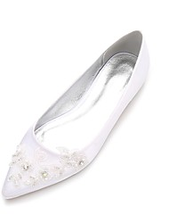 cheap -Women's Shoes Satin Spring / Summer Comfort / Ballerina Wedding Shoes Flat Heel Pointed Toe Beading / Flower White / Ivory