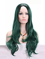 cheap -Middle Long Body Wave Dark Green Wig Synthetic Ombre Black to Green Two Tone Wig for Black Women Cosplay Wigs