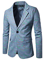 cheap -Men's Cotton Blazer Print Peaked Lapel