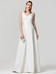 preiswerte -Prinzessin V-Ausschnitt Boden-Länge Satin Formeller Abend Kleid mit Plissee durch TS Couture®