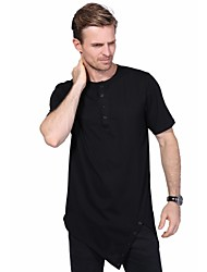 Men's Fashion Personality Hem Solid Color Hip Hop Short Sleeved T-Shirt Cotton Spandex